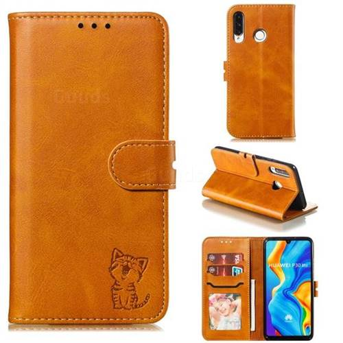 Embossing Happy Cat Leather Wallet Case for Huawei P30 Lite - Yellow