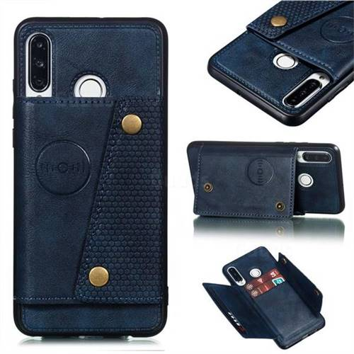 Retro Multifunction Card Slots Stand Leather Coated Phone Back Cover for Huawei P30 Lite - Blue