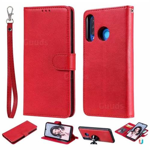 Retro Greek Detachable Magnetic PU Leather Wallet Phone Case for Huawei P30 Lite - Red