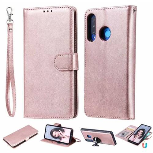 Retro Greek Detachable Magnetic PU Leather Wallet Phone Case for Huawei P30 Lite - Rose Gold