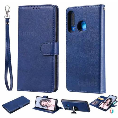 Retro Greek Detachable Magnetic PU Leather Wallet Phone Case for Huawei P30 Lite - Blue