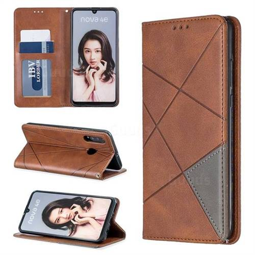 Prismatic Slim Magnetic Sucking Stitching Wallet Flip Cover for Huawei P30 Lite - Brown