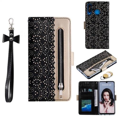 Luxury Lace Zipper Stitching Leather Phone Wallet Case for Huawei P30 Lite - Black