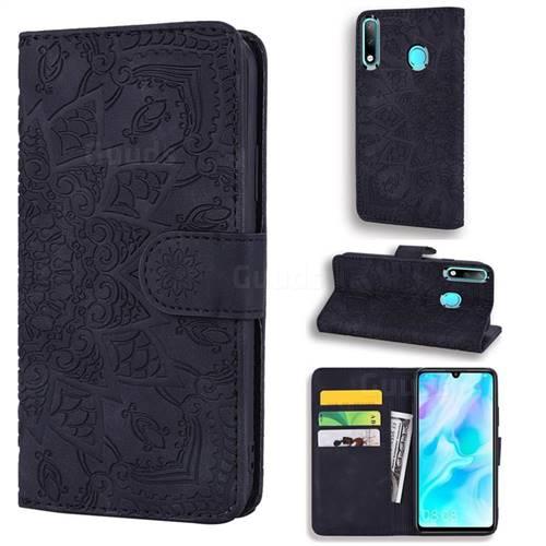 Retro Embossing Mandala Flower Leather Wallet Case for Huawei P30 Lite - Black