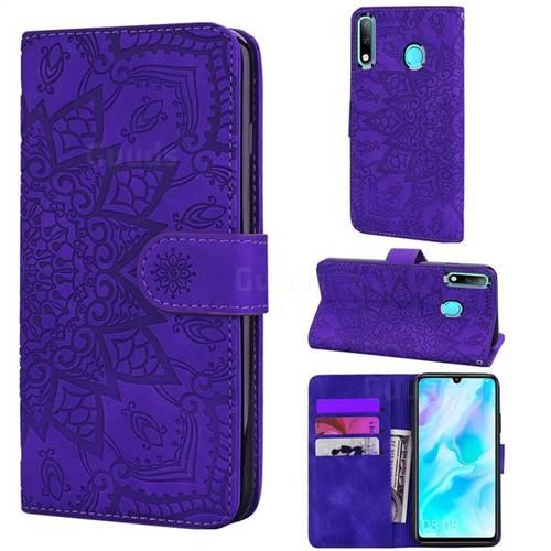 Retro Embossing Mandala Flower Leather Wallet Case for Huawei P30 Lite - Purple