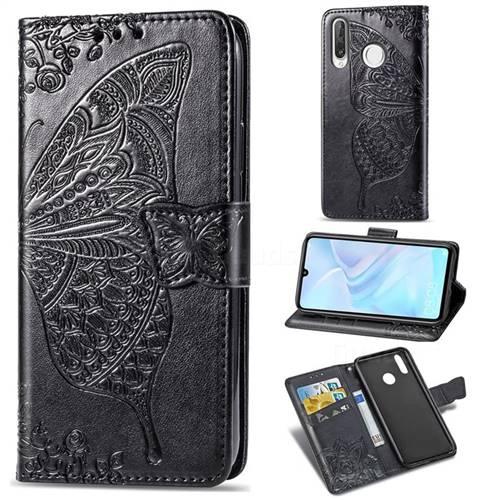 Embossing Mandala Flower Butterfly Leather Wallet Case for Huawei P30 Lite - Black
