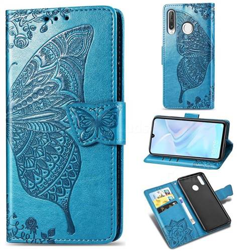 Embossing Mandala Flower Butterfly Leather Wallet Case for Huawei P30 Lite - Blue