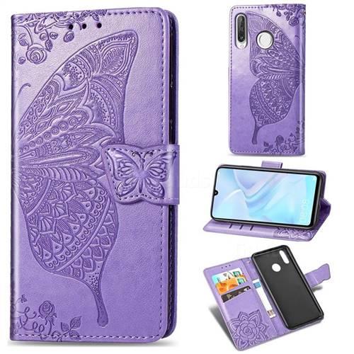 Embossing Mandala Flower Butterfly Leather Wallet Case for Huawei P30 Lite - Light Purple