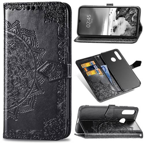 Embossing Imprint Mandala Flower Leather Wallet Case for Huawei P30 Lite - Black