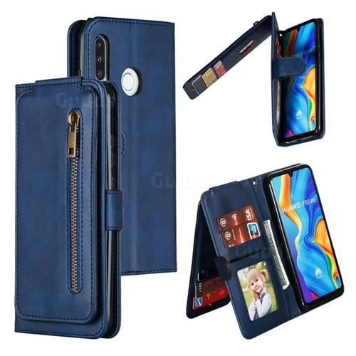 Multifunction 9 Cards Leather Zipper Wallet Phone Case for Huawei P30 Lite - Blue