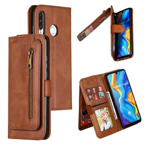 Multifunction 9 Cards Leather Zipper Wallet Phone Case for Huawei P30 Lite - Brown