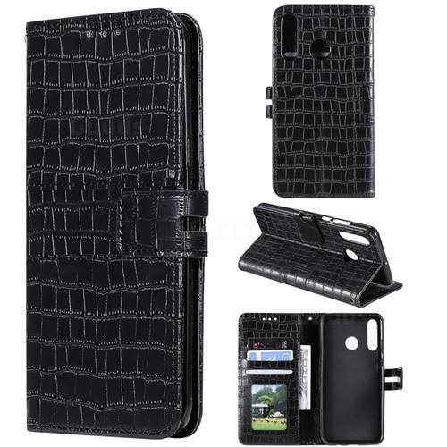 Luxury Crocodile Magnetic Leather Wallet Phone Case for Huawei P30 Lite - Black