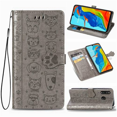 Embossing Dog Paw Kitten and Puppy Leather Wallet Case for Huawei P30 Lite - Gray