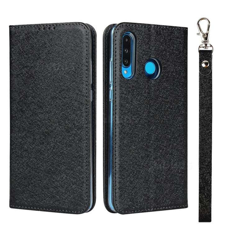 Ultra Slim Magnetic Automatic Suction Silk Lanyard Leather Flip Cover for Huawei P30 Lite - Black