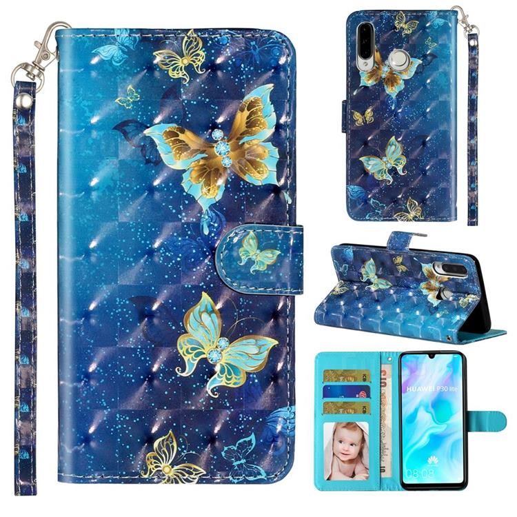 Rankine Butterfly 3D Leather Phone Holster Wallet Case for Huawei P30 Lite