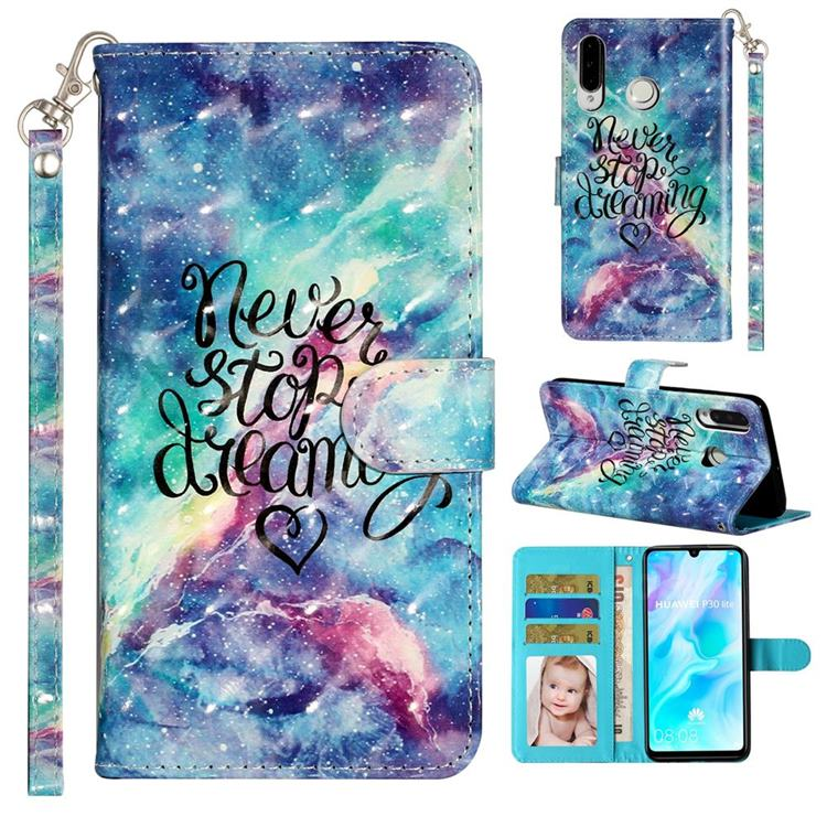 Blue Starry Sky 3D Leather Phone Holster Wallet Case for Huawei P30 Lite