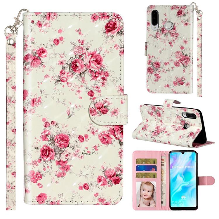 Rambler Rose Flower 3D Leather Phone Holster Wallet Case for Huawei P30 Lite