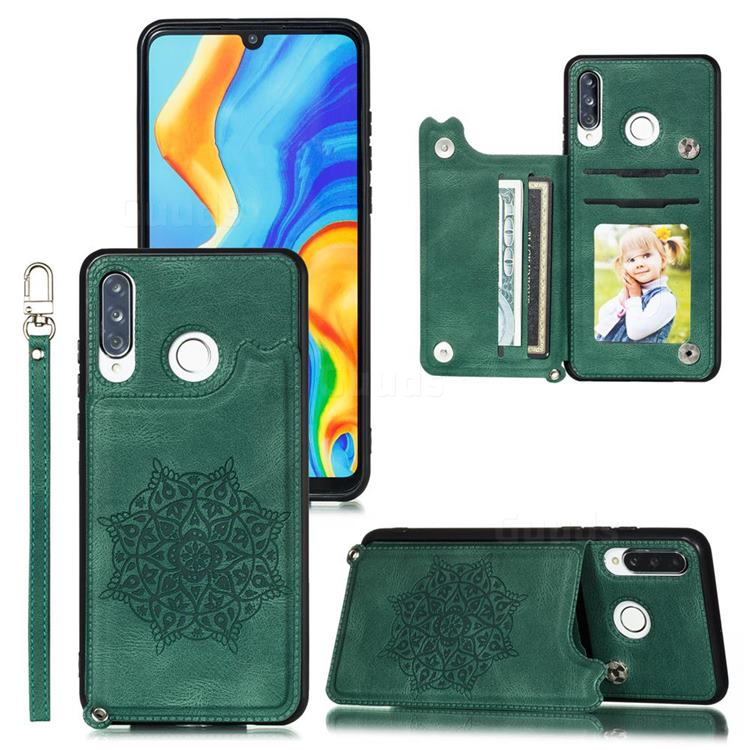 Luxury Mandala Multi-function Magnetic Card Slots Stand Leather Back Cover for Huawei P30 Lite - Green