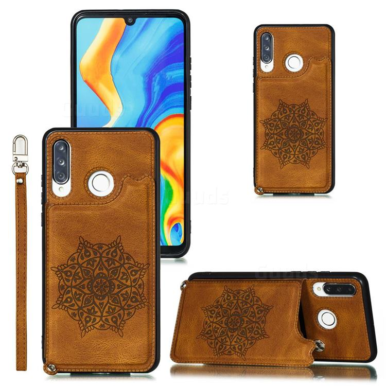 Luxury Mandala Multi-function Magnetic Card Slots Stand Leather Back Cover for Huawei P30 Lite - Brown