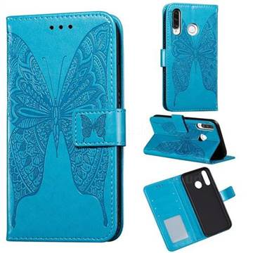 Intricate Embossing Vivid Butterfly Leather Wallet Case for Huawei P30 Lite - Blue