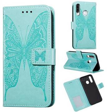 Intricate Embossing Vivid Butterfly Leather Wallet Case for Huawei P30 Lite - Green