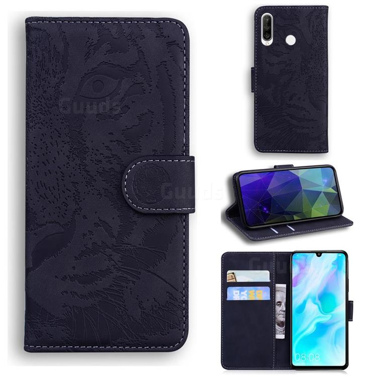 Intricate Embossing Tiger Face Leather Wallet Case for Huawei P30 Lite - Black