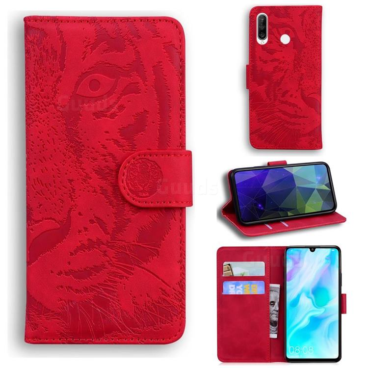Intricate Embossing Tiger Face Leather Wallet Case for Huawei P30 Lite - Red