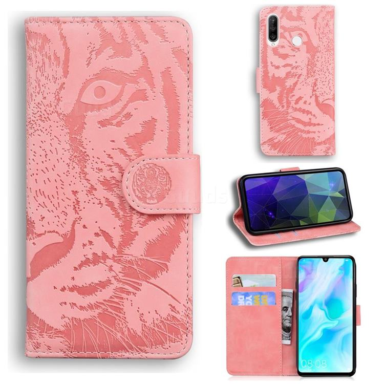 Intricate Embossing Tiger Face Leather Wallet Case for Huawei P30 Lite - Pink