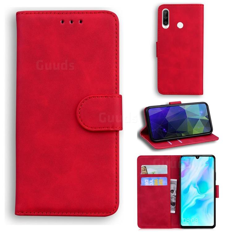 Retro Classic Skin Feel Leather Wallet Phone Case for Huawei P30 Lite - Red
