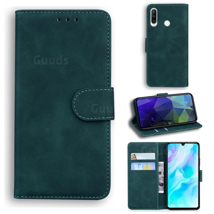 Retro Classic Skin Feel Leather Wallet Phone Case for Huawei P30 Lite - Green