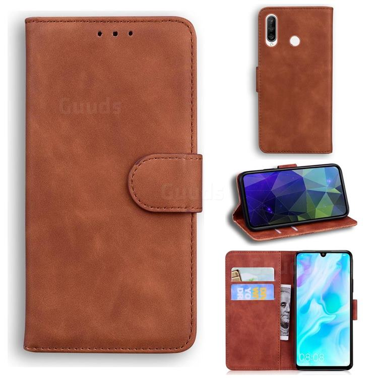 Retro Classic Skin Feel Leather Wallet Phone Case for Huawei P30 Lite - Brown
