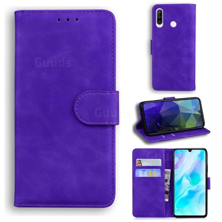 Retro Classic Skin Feel Leather Wallet Phone Case for Huawei P30 Lite - Purple