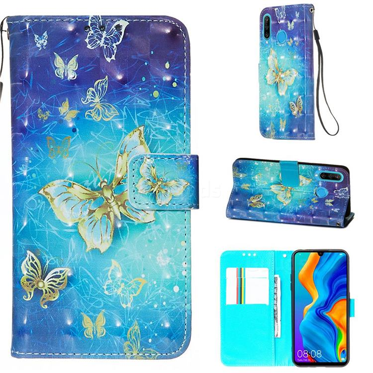 Gold Butterfly 3D Painted Leather Wallet Case for Huawei P30 Lite