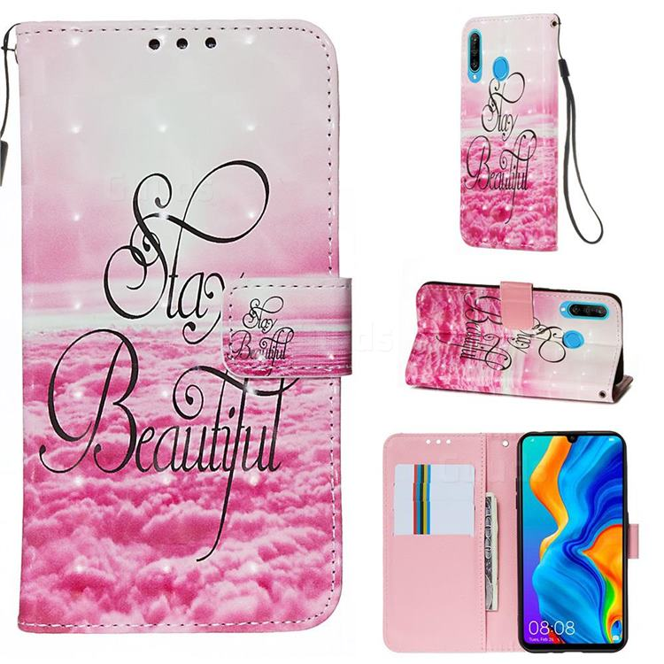 Beautiful 3D Painted Leather Wallet Case for Huawei P30 Lite
