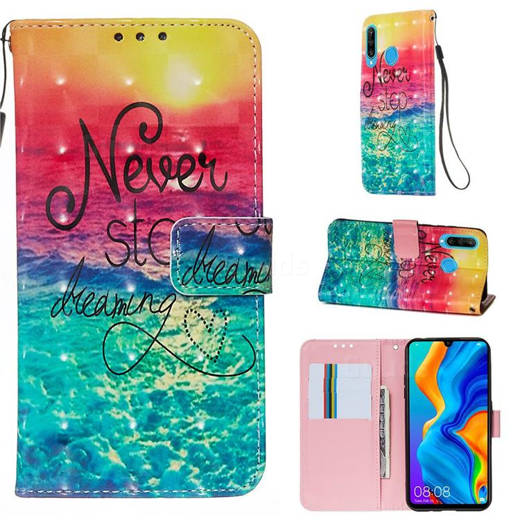 Colorful Dream Catcher 3D Painted Leather Wallet Case for Huawei P30 Lite