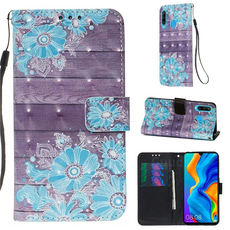 Blue Flower 3D Painted Leather Wallet Case for Huawei P30 Lite