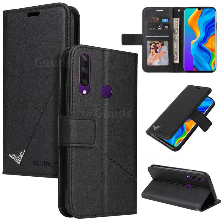 GQ.UTROBE Right Angle Silver Pendant Leather Wallet Phone Case for Huawei P30 Lite - Black