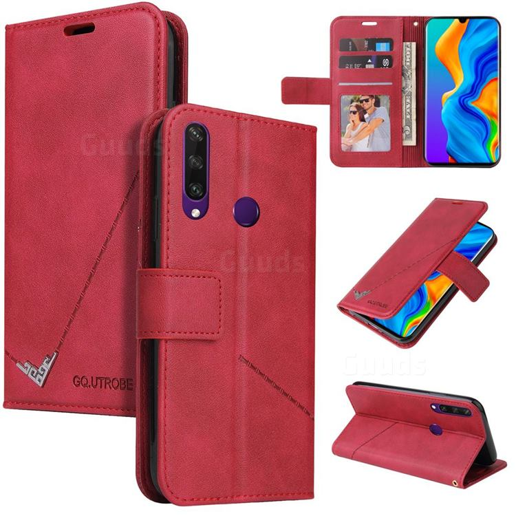 GQ.UTROBE Right Angle Silver Pendant Leather Wallet Phone Case for Huawei P30 Lite - Red