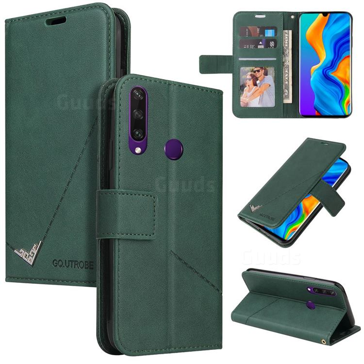GQ.UTROBE Right Angle Silver Pendant Leather Wallet Phone Case for Huawei P30 Lite - Green