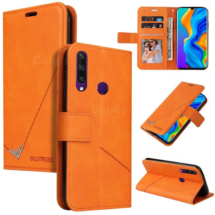 GQ.UTROBE Right Angle Silver Pendant Leather Wallet Phone Case for Huawei P30 Lite - Orange