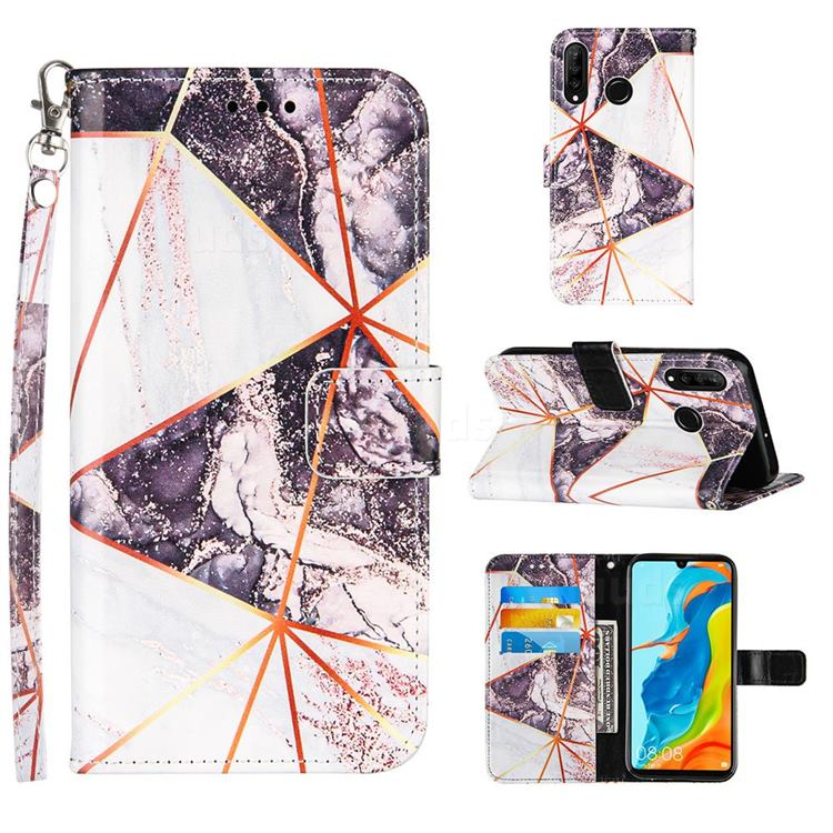 Black and White Stitching Color Marble Leather Wallet Case for Huawei P30 Lite