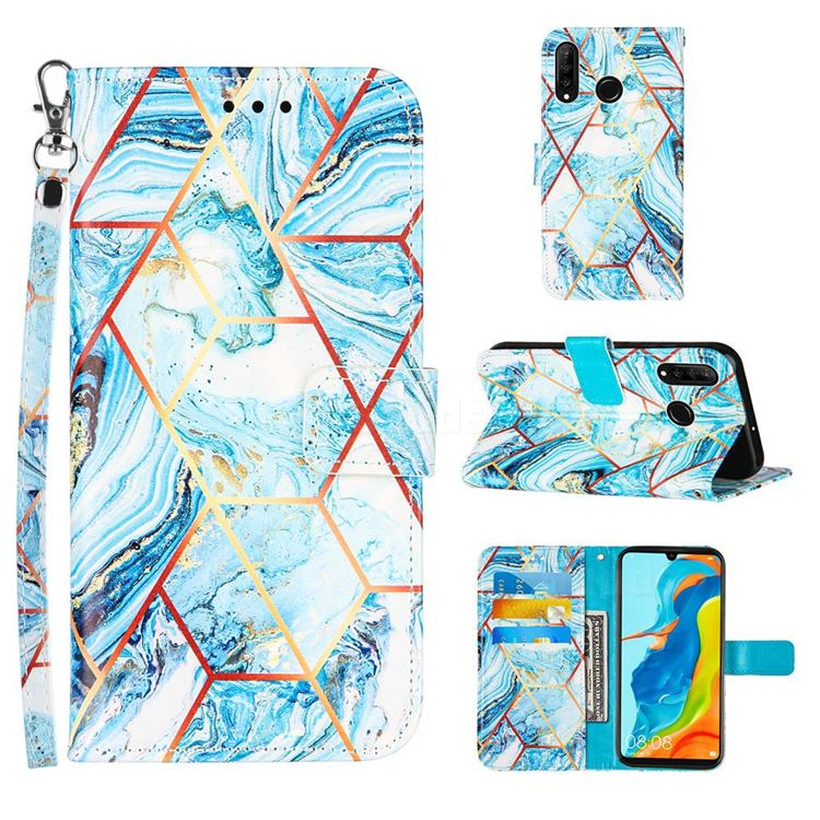 Lake Blue Stitching Color Marble Leather Wallet Case for Huawei P30 Lite