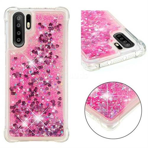Dynamic Liquid Glitter Sand Quicksand TPU Case for Huawei P30 Pro - Pink Love Heart
