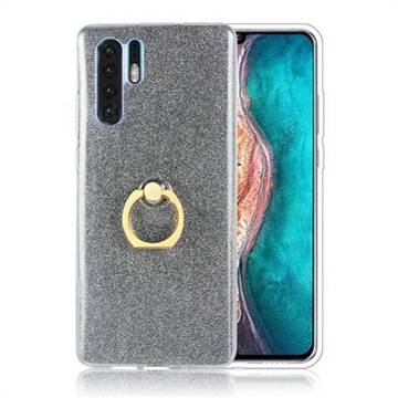 Luxury Soft TPU Glitter Back Ring Cover with 360 Rotate Finger Holder Buckle for Huawei P30 Pro - Black