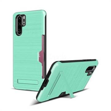 Brushed 2 in 1 TPU + PC Stand Card Slot Phone Case Cover for Huawei P30 Pro - Mint Green