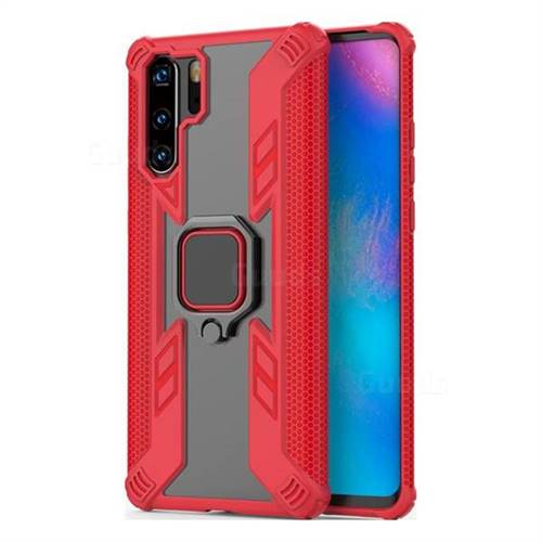 Predator Armor Metal Ring Grip Shockproof Dual Layer Rugged Hard Cover for Huawei P30 Pro - Red