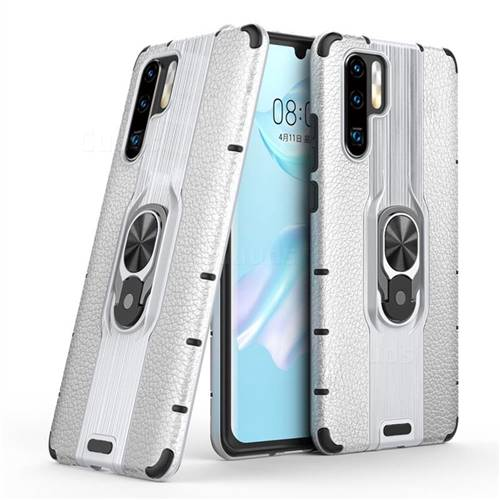 Alita Battle Angel Armor Metal Ring Grip Shockproof Dual Layer Rugged Hard Cover for Huawei P30 Pro - Silver