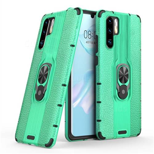 Alita Battle Angel Armor Metal Ring Grip Shockproof Dual Layer Rugged Hard Cover for Huawei P30 Pro - Green