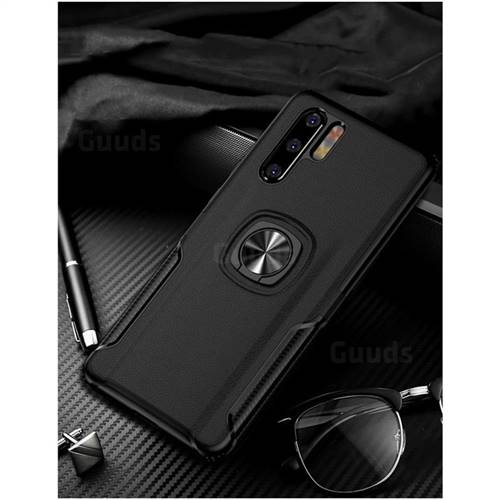 Knight Armor Anti Drop PC + Silicone Invisible Ring Holder Phone Cover for Huawei P30 Pro - Black