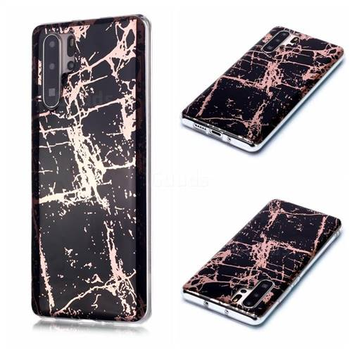 Black Galvanized Rose Gold Marble Phone Back Cover for Huawei P30 Pro